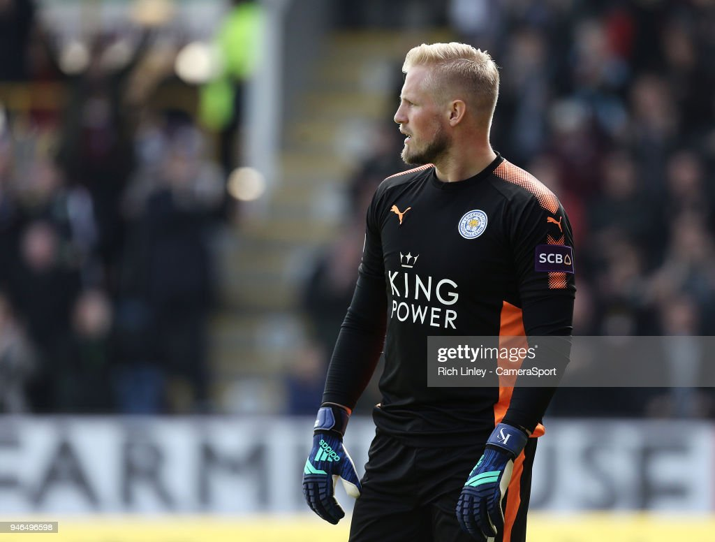 Leicester City's Kasper Schmeichel during the Premier League match between Burnley and Leicester City at Turf Moor on April 14, 2018 in Burnley, England.