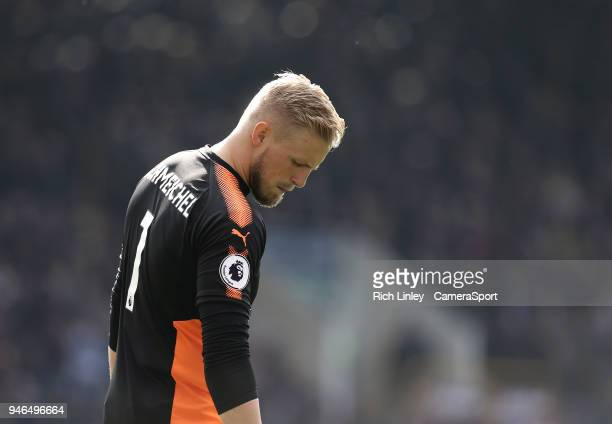 Leicester City's Kasper Schmeichel during the Premier League match between Burnley and Leicester City at Turf Moor on April 14 2018 in Burnley England