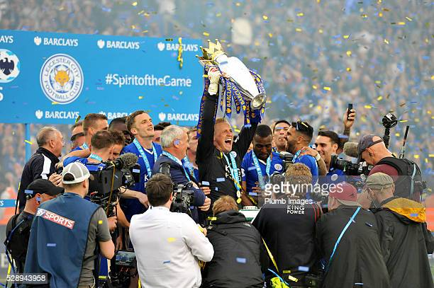 Leicester City's Kasper Schmeichel lifts the trophy after the Barclays Premier League match between Leicester City and Everton at the King Power...