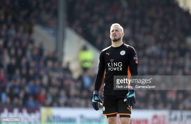 Leicester City's Kasper Schmeichel shows his frustration during the second half during the Premier League match between Burnley and Leicester City at...