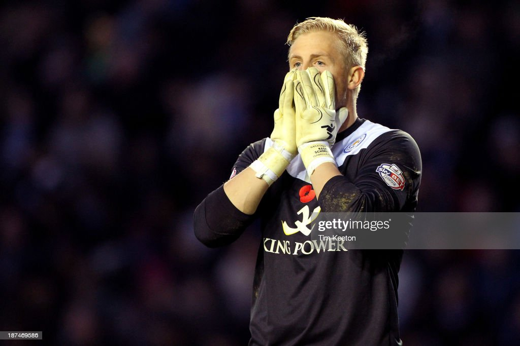 Leicester City's Kasper Schmeichel's reaction to David Nugent puting it over the bar from the penalty spot during the Sky Bet Championship match between Leicester City and Nottingham Forest at The King Power Stadium on November 09, 2013 in Leicester, England.