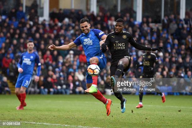 Leicester City's Kelechi Iheanacho battles for the ball during the Emirates FA Cup fourth round match at The ABAX Stadium Peterborough