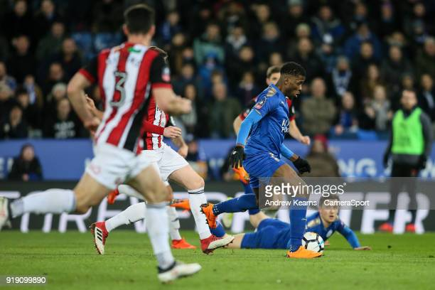 Leicester City's Kelechi Iheanacho breaks during the The Emirates FA Cup Fifth Round match between Leicester City and Sheffield United at The King...