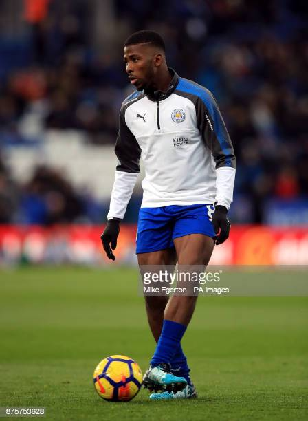 Leicester City's Kelechi Iheanacho warms up before the game