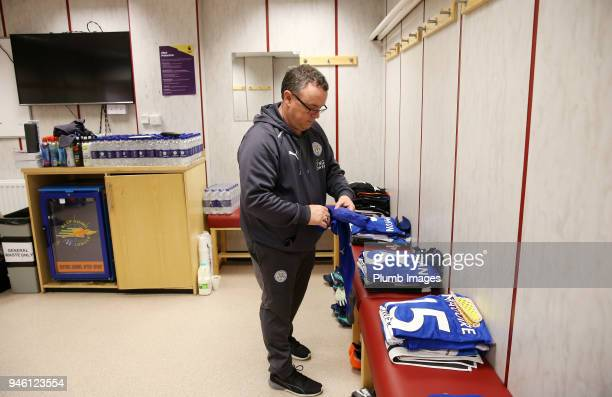 Leicester City's kit man prepares the players' kit at Turf Moor ahead the Premier League match between Burnley and Leicester City at Turf Moor on...