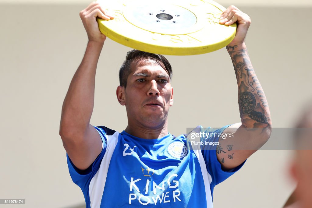 Leicester City's Leo Ulloa during the Leicester City Pre-Season tour of Austria at Velden Training Facility on July 10th , 2017 in Velden, Austria.