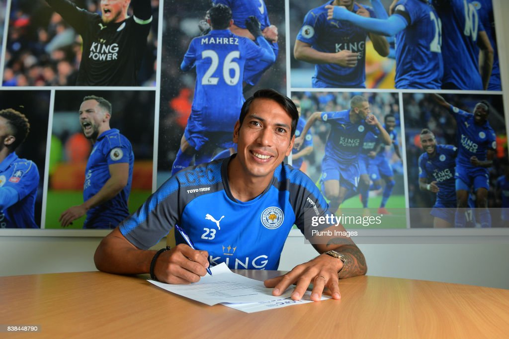 Leicester City's Leonardo Ulloa signs a new contract at Belvoir Drive Training Complex on August 24 , 2017 in Leicester, United Kingdom.