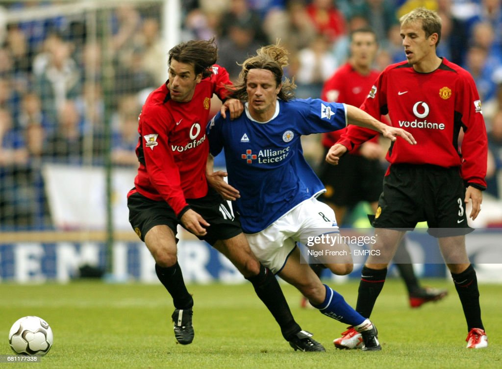 Leicester City's Lilian Nalis and Manchester United's Ruud Van Nistelrooy