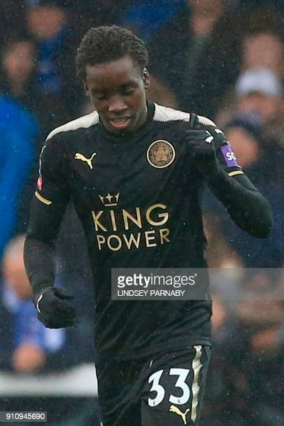 Leicester City's Malian midfielder Fousseni Diabate celebrates scoring the opening goal during the English FA Cup fourth round football match between...