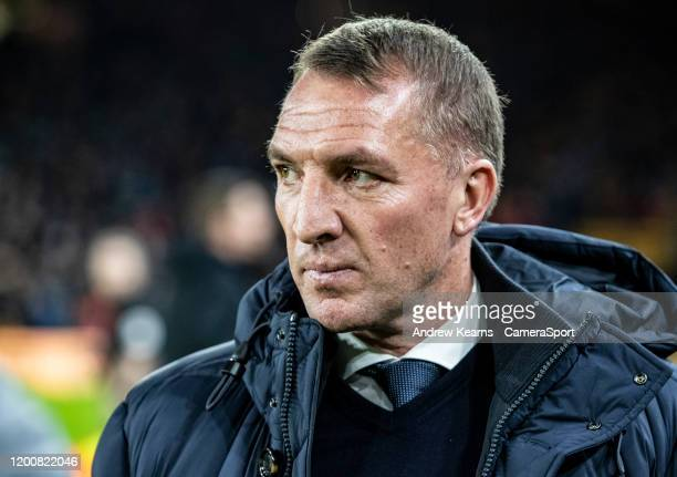 Leicester City's manager Brendan Rogers during the Premier League match between Wolverhampton Wanderers and Leicester City at Molineux on February 14...
