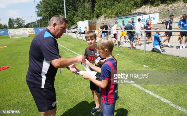 Leicester City's manager Craig Shakespeare meets local fans during the Leicester City PreSeason tour of Austria at Velden Training Facility on July...
