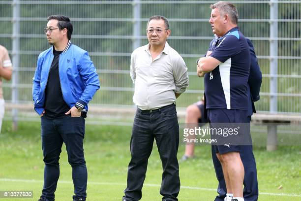 Leicester City's manager Craig Shakespeare talks to Chairman Vichai Srivaddhanaprabha and vice chairman Aiyawatt Srivaddhanaprabha during the...