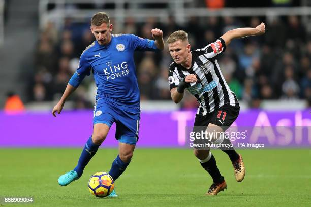 Leicester City's Marc Albrighton and Newcastle United's Matt Ritchie battle for the ball during the Premier League match at St James' Park Newcastle