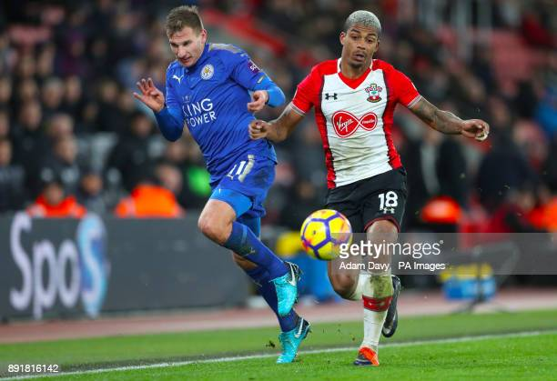Leicester City's Marc Albrighton and Southampton's Mario Lemina battle for the ball during the Premier League match at St Mary's Stadium Southampton