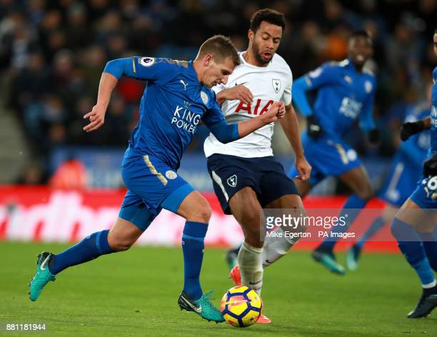 Leicester City's Marc Albrighton and Tottenham Hotspur's Mousa Dembele during the Premier League match at the King Power Stadium Leicester