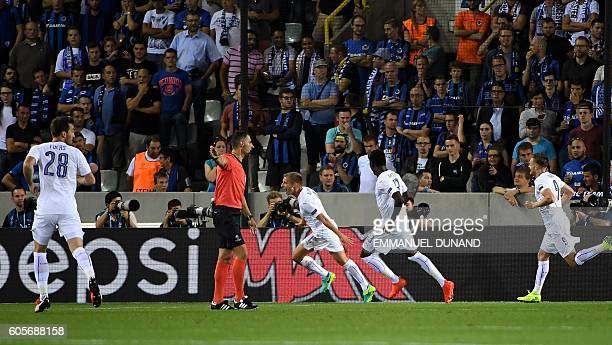 Leicester City's Marc Albrighton celebrates after scoring during the UEFA Champions League football match between Club Brugge and Leicester City at...