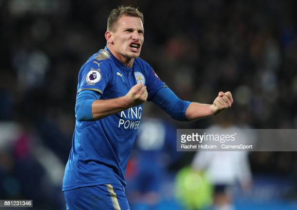 Leicester City's Marc Albrighton celebrates at the end of the gameduring the Premier League match between Leicester City and Tottenham Hotspur at The...