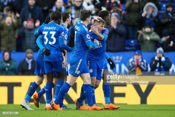 Leicester City's Marc Albrighton celebrates with his team mates after scoring during the Premier League match between Leicester City and Stoke City...