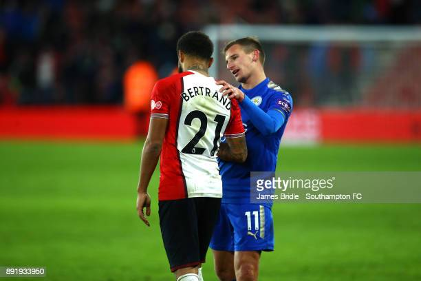 Leicester City's Marc Albrighton consolidates Southampton's Ryan Bertrand after the final whistle is blown during the Premier League match between...