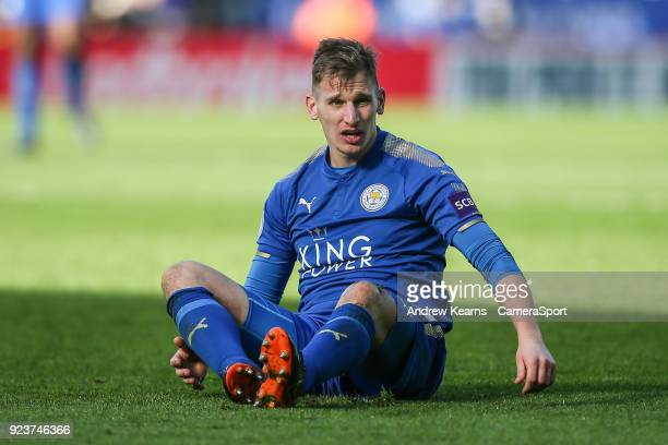 Leicester City's Marc Albrighton during the Premier League match between Leicester City and Stoke City at The King Power Stadium on February 24 2018...