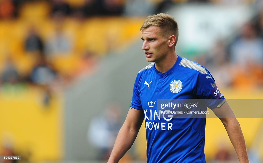 Leicester Citys Marc Albrighton during the pre-season friendly match between Wolverhampton Wanderers and Leicester City at Molineux on July 29, 2017 in Wolverhampton, England.