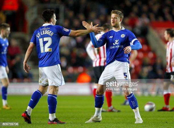 Leicester City's Matt Mills celebrates with team mate Sean St Ledger after scoring his side's second goal of the game