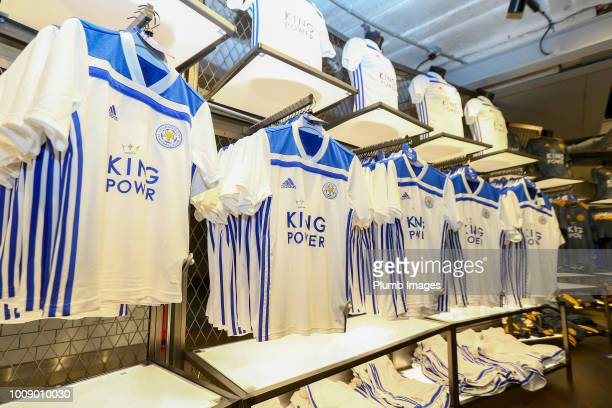 Leicester City's new white away kit in the club fanstore ahead of the friendly match between Leicester City and Valencia at King Power Stadium on...