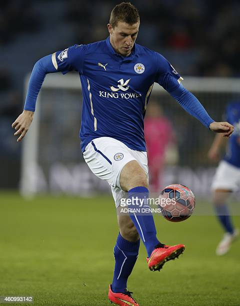 Leicester City's New Zealand striker Chris Wood controls the ball during the English FA Cup third round football match between Leicester City and...