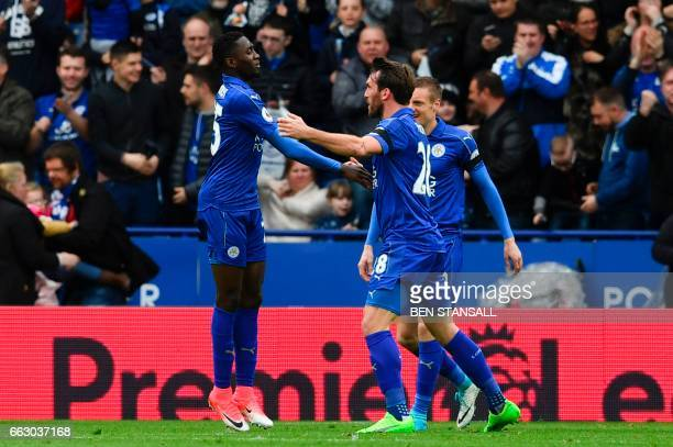 Leicester City's Nigerian midfielder Wilfred Ndidi celebrates scoring the opening goal during the English Premier League football match between...