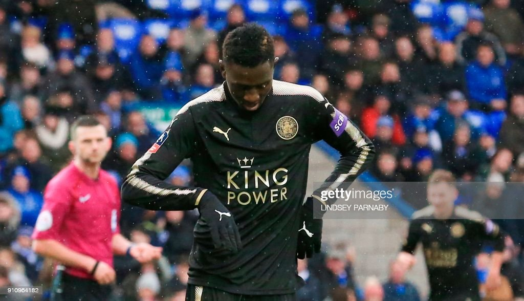 Leicester City's Nigerian midfielder Wilfred Ndidi celebrates scoring their fifth goal during the English FA Cup fourth round football match between Peterborough United and Leicester City at London Road stadium in Peterborough, eastern England, on January 27, 2018. / AFP PHOTO / Lindsey PARNABY / RESTRICTED TO EDITORIAL USE. No use with unauthorized audio, video, data, fixture lists, club/league logos or 'live' services. Online in-match use limited to 75 images, no video emulation. No use in betting, games or single club/league/player publications. /