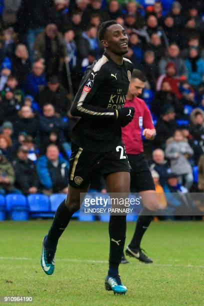 Leicester City's Nigerian midfielder Wilfred Ndidi celebrates scoring their fifth goal during the English FA Cup fourth round football match between...