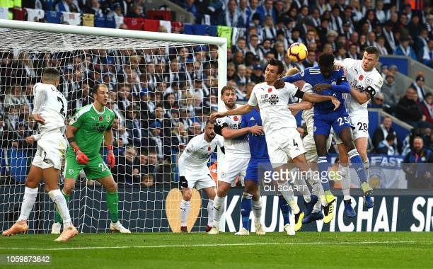Leicester City's Nigerian midfielder Wilfred Ndidi shoots but fails to score during the English Premier League football match between Leicester City...