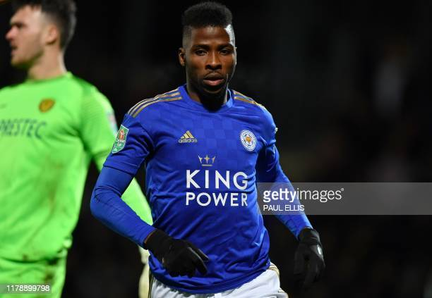 Leicester City's Nigerian striker Kelechi Iheanacho celebrates scoring the opening goal during the English League Cup fourth round football match...