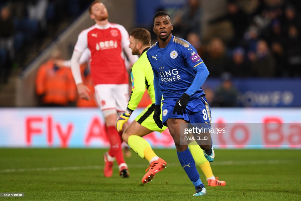 Leicester City's Nigerian striker Kelechi Iheanacho celebrates scoring the team's first goalduring the English FA Cup third round replay football match between Leicester City and Fleetwood Town at King Power Stadium in Leicester, central England on January 16, 2018. / AFP PHOTO / Paul ELLIS / RESTRICTED TO EDITORIAL USE. No use with unauthorized audio, video, data, fixture lists, club/league logos or 'live' services. Online in-match use limited to 75 images, no video emulation. No use in betting, games or single club/league/player publications. /