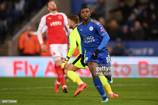 Leicester City's Nigerian striker Kelechi Iheanacho celebrates scoring the team's first goalduring the English FA Cup third round replay football...