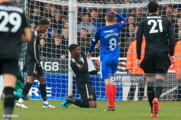 Leicester City's Nigerian striker Kelechi Iheanacho celebrates scoring their second goal during the English FA Cup fourth round football match...