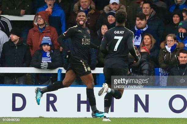 Leicester City's Nigerian striker Kelechi Iheanacho celebrates scoring the third goal during the English FA Cup fourth round football match between...
