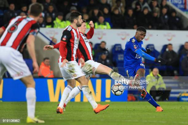 Leicester City's Nigerian striker Kelechi Iheanacho misses a chance at goal during the English FA Cup fifth round football match between Leicester...