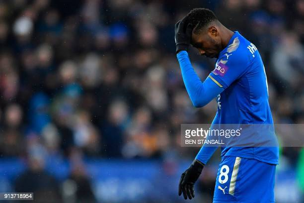 Leicester City's Nigerian striker Kelechi Iheanacho reacts after his shot was saved during the English Premier League football match between...