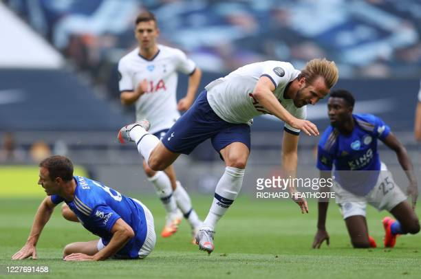 Leicester City's Northern Irish defender Jonny Evans tackles Tottenham Hotspur's English striker Harry Kane during the English Premier League...