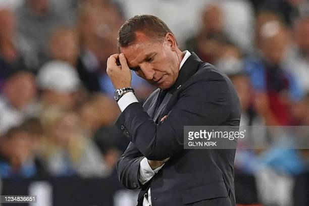 Leicester City's Northern Irish manager Brendan Rodgers gestures on the touchline during the English Premier League football match between West Ham...