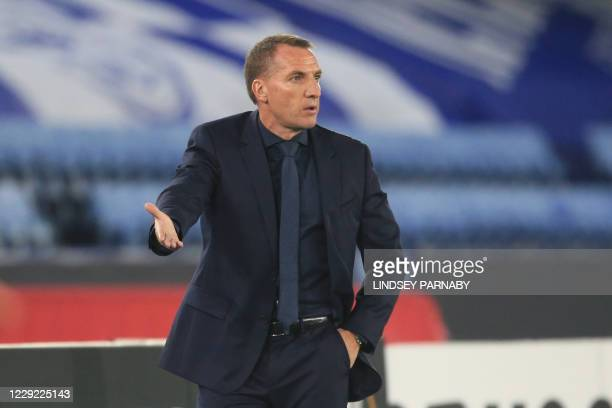 Leicester City's Northern Irish manager Brendan Rodgers gestures during the UEFA Europa League 1st round Group G football match between Leicester...