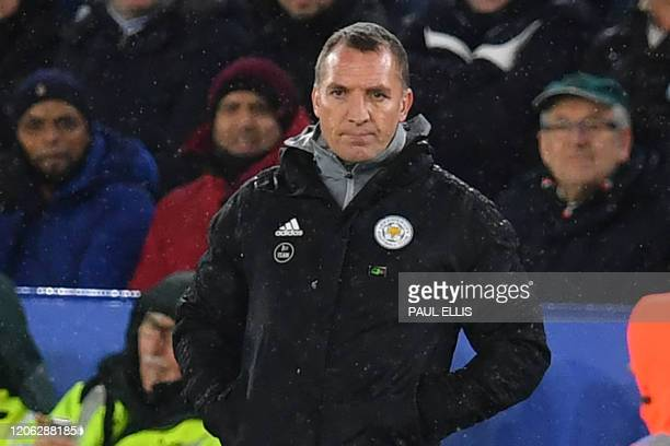 Leicester City's Northern Irish manager Brendan Rodgers looks on from the touchline during the English Premier League football match between...
