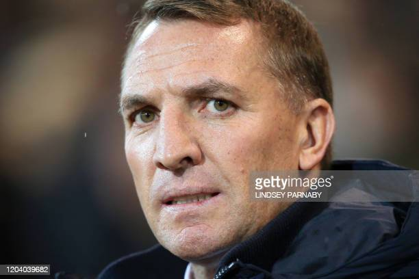 Leicester City's Northern Irish manager Brendan Rodgers looks on during the English Premier League football match between Norwich City and Leicester...