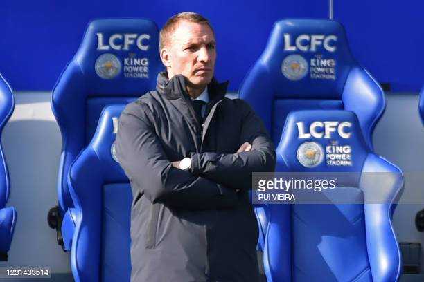 Leicester City's Northern Irish manager Brendan Rodgers looks on during the English Premier League football match between Leicester City and Arsenal...