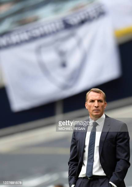 Leicester City's Northern Irish manager Brendan Rodgers reacts during the English Premier League football match between Tottenham Hotspur and...