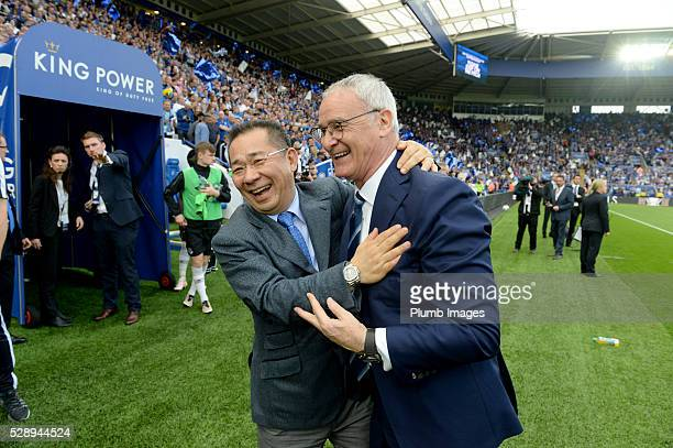Leicester City's owner Vichai Srivaddhanaprabha with manager Claudio Ranieri during the Barclays Premier League match between Leicester City and...
