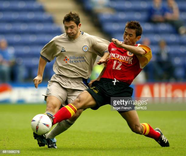 Leicester City's Peter Canero and East Bengal's Bhaichung Bhutia