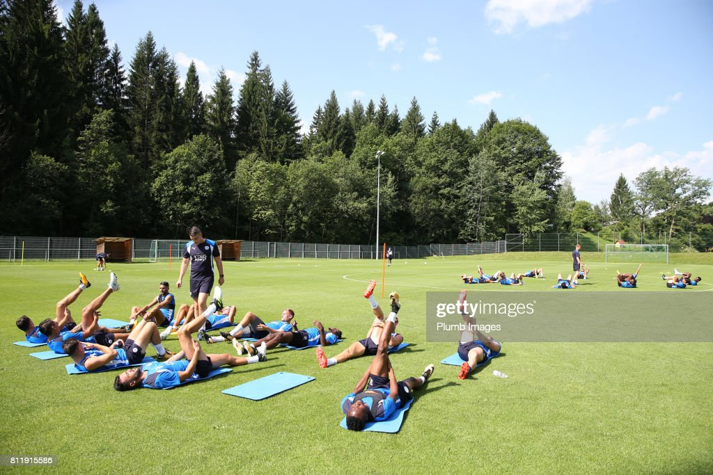 Leicester City's players train in the Austrian sun during the Leicester City Pre-Season tour of Austria at Velden Training Facility on July 10th , 2017 in Velden, Austria.