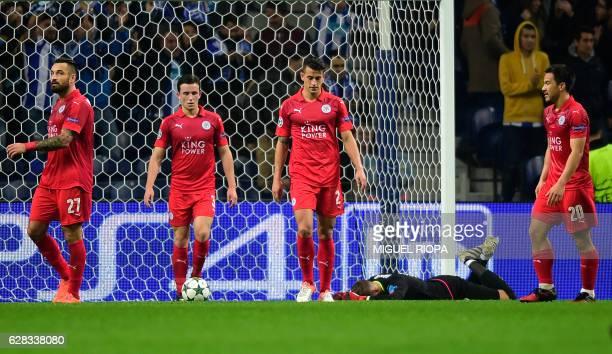Leicester City's Polish defender Marcin Wasilewski defender Ben Chilwell Spanish defender Luis Hernandez goalkeeper Ben Hamer and Japanese forward...